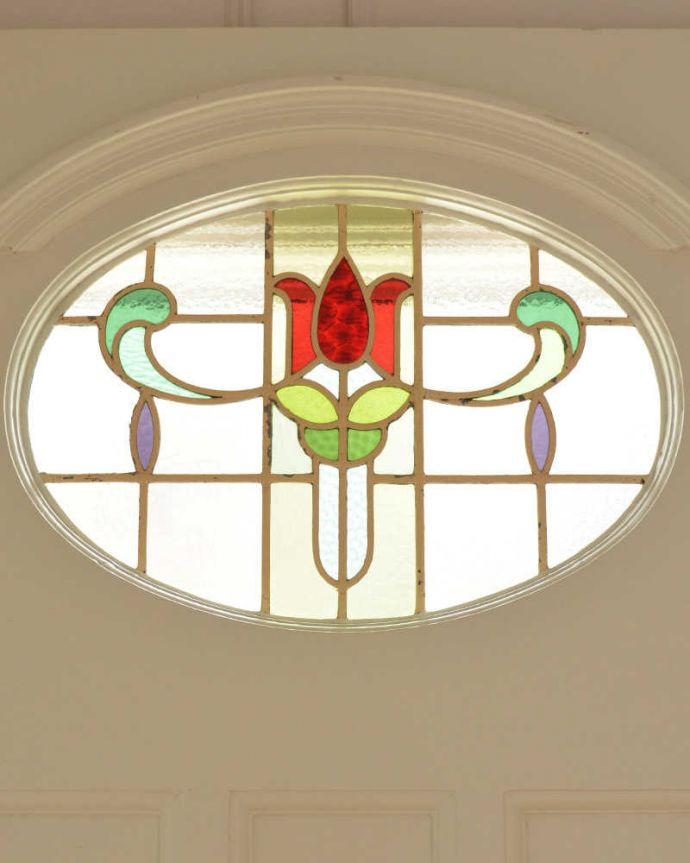 赤いお花のアンティークステンドグラス